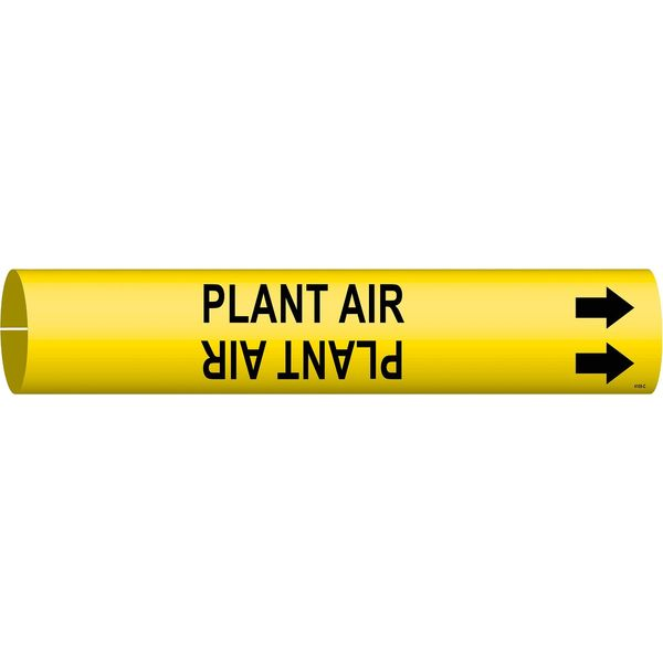 Brady Pipe Marker, Plant Air, Y, 2-1/2 to3-7/8 In 4108-C