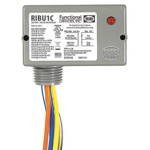 Functional Devices Inc / Rib Enclosed Pre-Wired Relay, 10A@277VAC, SPDT RIBU1C