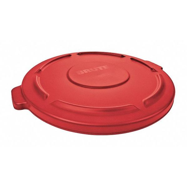 Rubbermaid Trash Can Top, Flat, Snap-On Closure, Red FG264560RED