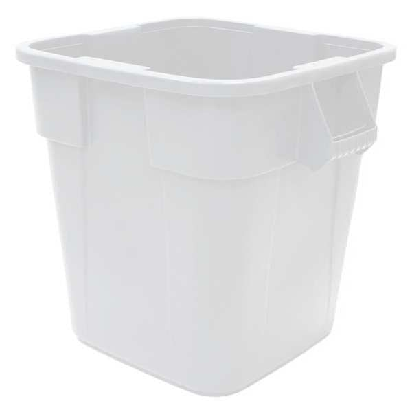 Rubbermaid 40 gal. LLDPE Square Trash Can ,  White FG353600WHT