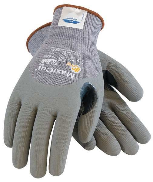 Pip Cut Resistant Gloves, Gray, L, PR 19-D475