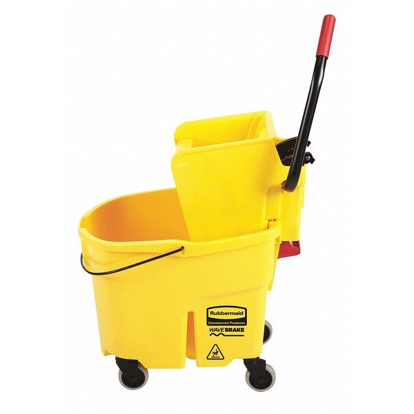 Rubbermaid 35qt. Yellow Side Press Mop Bucket and Wringer FG758088YEL