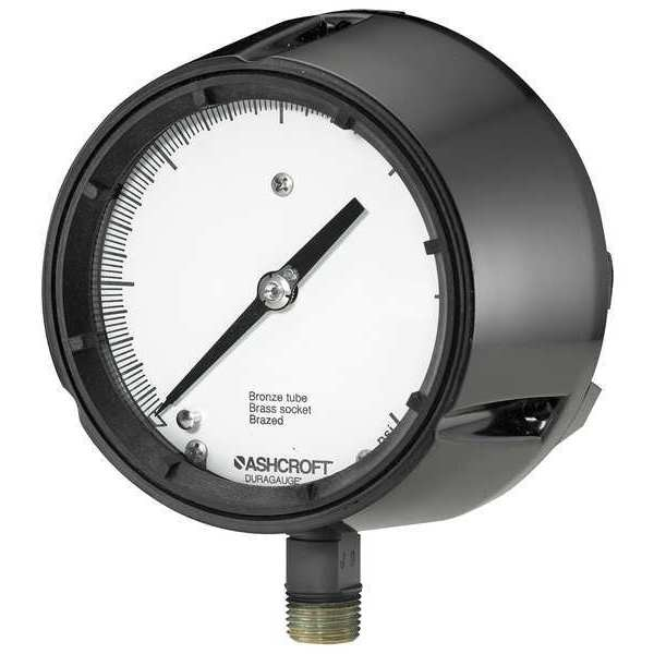 Ashcroft Compound Gauge,  -30 to 0 to 100 in Hg/psi,  1/2 in MNPT,  Plastic,  Black 451259SD04LV/100#