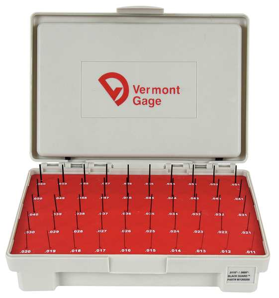 Vermont Gage Pin Gage Set, Minus, 0.011-0.060 In, Black 901200200