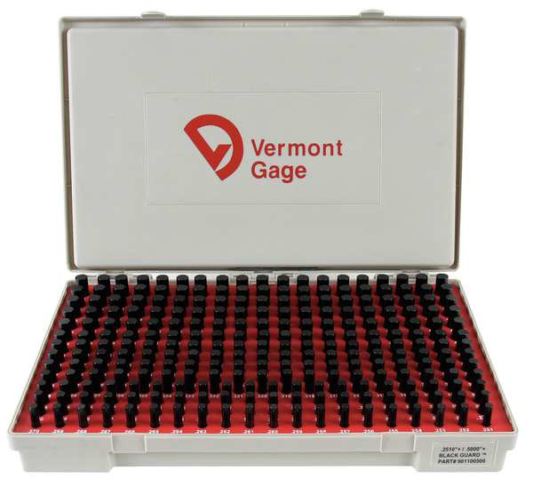 Vermont Gage Pin Gage Set, Plus, 0.251-0.500 In, Black 901100500