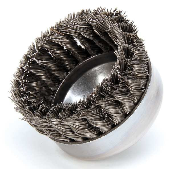 """Weiler Knot Wire Cup Wire Brush,  Threaded Arbor,  4"""" 94121"""