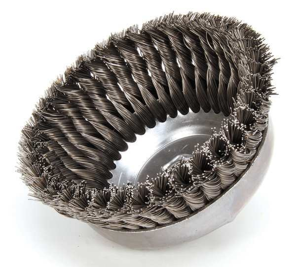 """Weiler Knot Wire Cup Wire Brush,  Threaded Arbor,  6"""" 94122"""