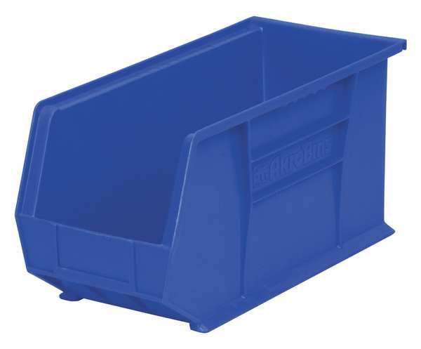 "Akro-Mils 9""L x 8-1/4""W x 18""H Blue Hang and Stack Bin 30265BLUE"