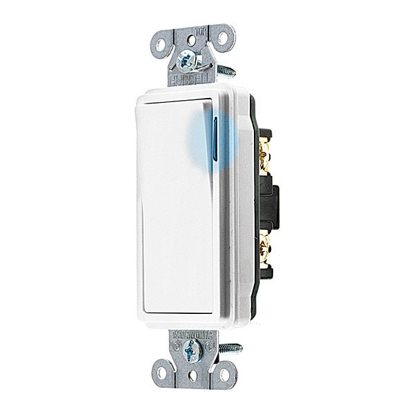 Hubbell Wiring Device-Kellems Illminatd Wall Swtch, 1-Pole, 20A, Wht, 120V DS120ILW