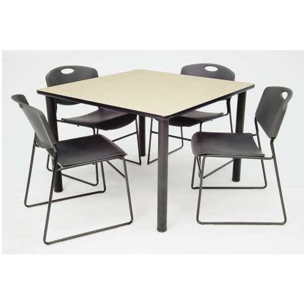 """Kee/Zeng Square Maple Table/4 Black Chairs,  Square, 36"""" ,  36"""" W 29"""" H,  TB3636PLBPBK44BK"""