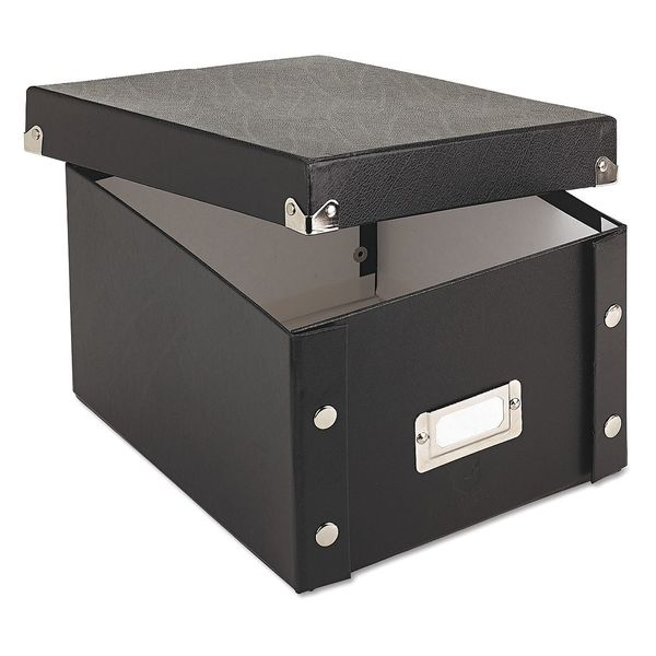 Snap-N-Store File Box, Index Card, Collapsible, Black SNS01647