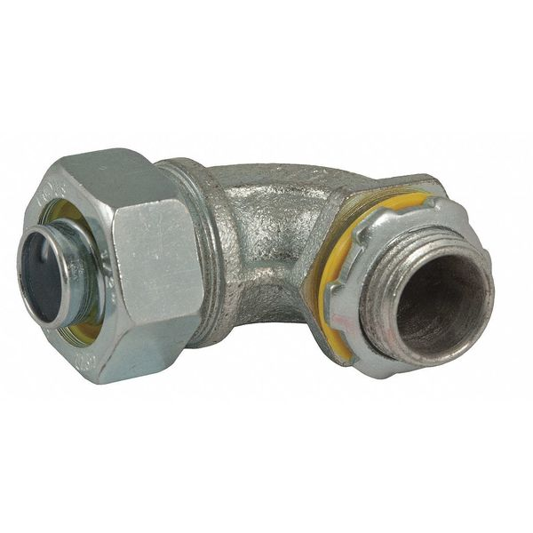 Raco Noninsulated Connector, 3/8 In., 90 Deg 3421