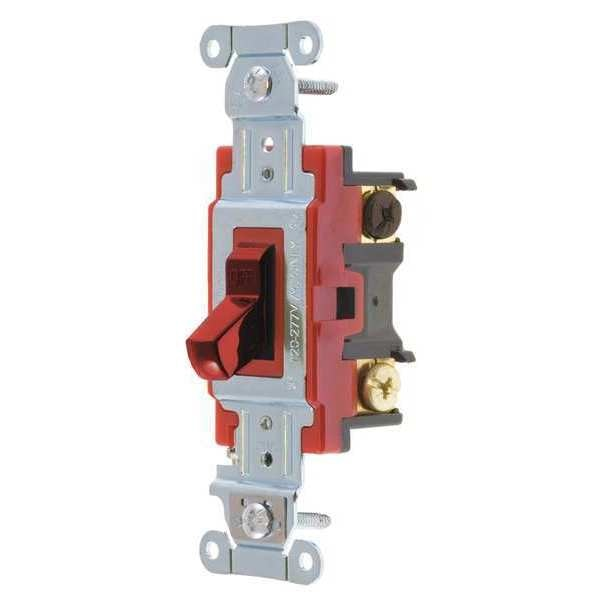Bryant Wall Switch, 20A, Red, 3-Way Type, Toggle 4903BRED