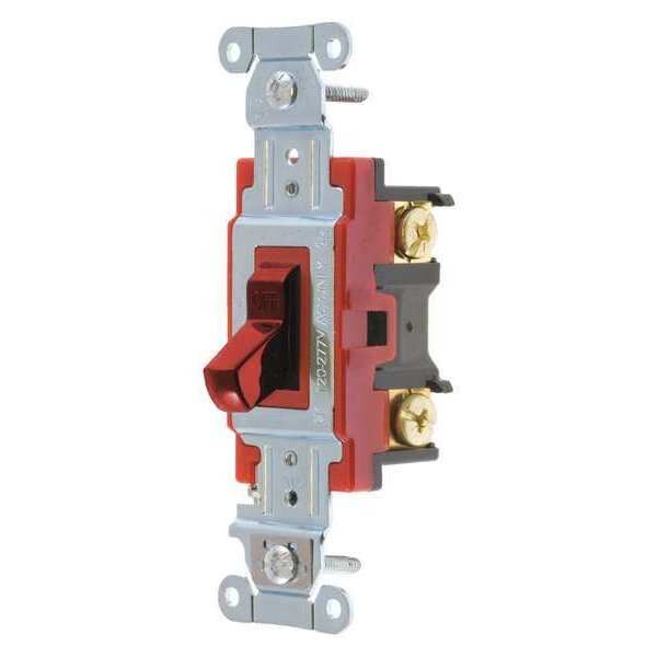 Bryant Wall Switch, 20A, Red, 1-Pole Type, Toggle 4901BRED