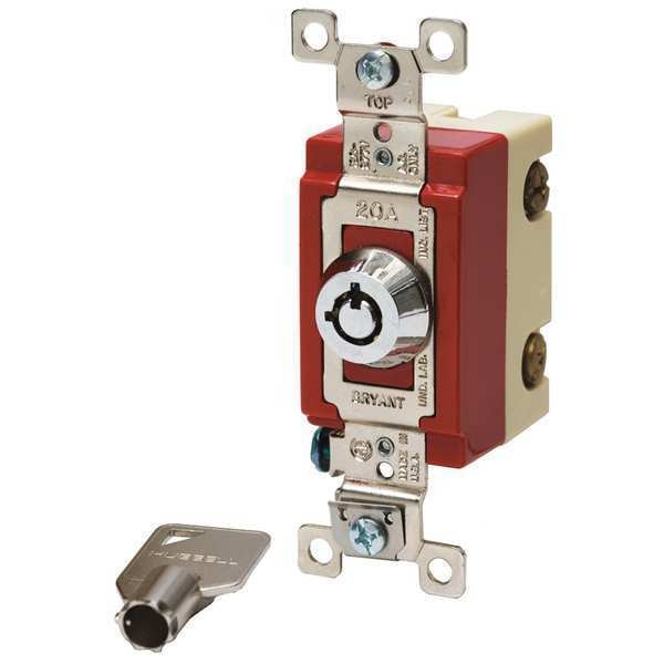 Bryant Wall Switch, 20A, Stainless Steel, Locking 4902RKL
