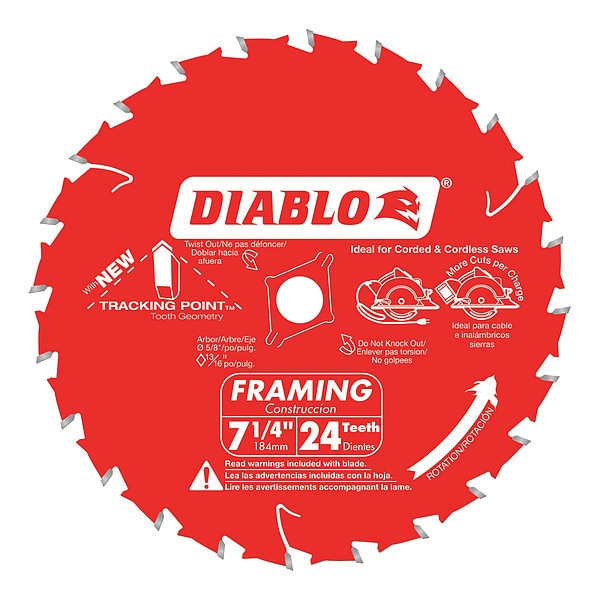 "Diablo 7-1/4"", 24-Teeth Circular Saw Blade D0724A"