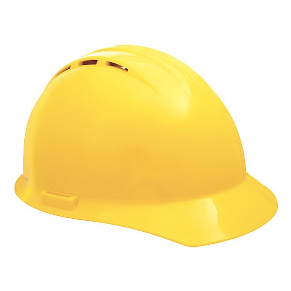 Erb Safety Front Brim Hard Hat,  Type 1,  Class C,  Pinlock (4-Point),  Yellow 19252