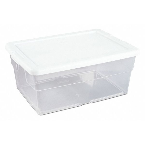 Sterilite Clear/White Storage Tote 16 3/4 in x 11 7/8 in x 7 in H,  1 PK 16448012