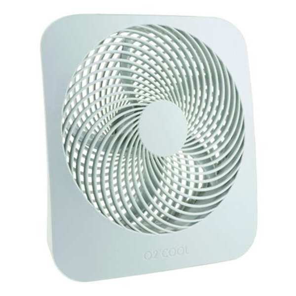 """O2Cool 10"""" Table Fan,  Non-Oscillating,  2 Speeds,  9VDC,  Cool Gray FD10802A"""