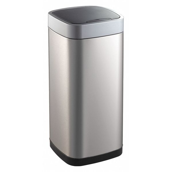 Zoro Select 21 gal. Stainless Steel,  ABS Square Trash Can ,  Silver 54TT81