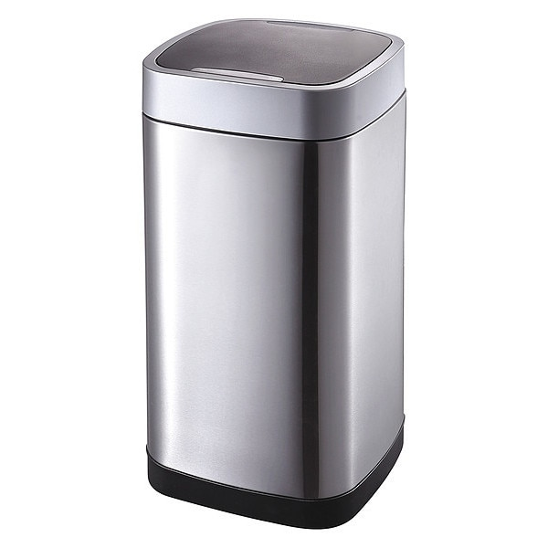 Zoro Select 13 gal. Stainless Steel,  ABS Square Trash Can ,  Silver 54TT82