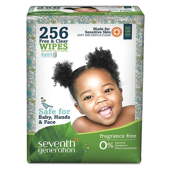 "Seventh Generation Baby Wipes, 7"" x 7"" Sheet Size, PK4 34219"
