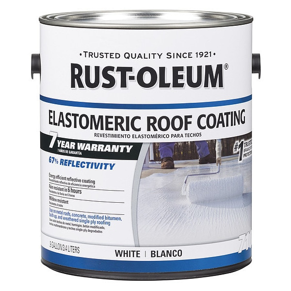 Rust-Oleum Elastomeric Roof Coating,  0.9 gal.,  White,  Dry Time: 6 hr 301904