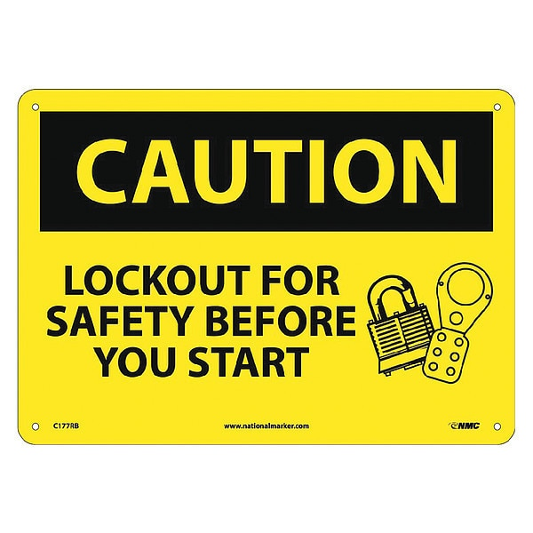Nmc Caution Lockout For Safety Before You Start Sign C177RB