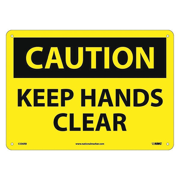 Nmc Caution Keep Hands Clear Sign C536RB