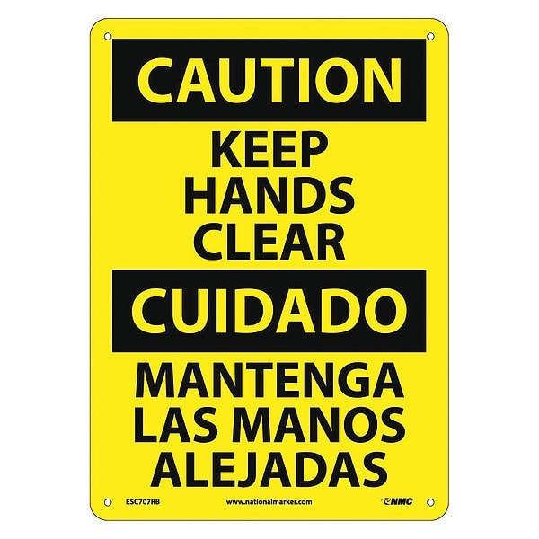 Nmc Caution Keep Hands Clear Sign - Bilingual ESC707RB