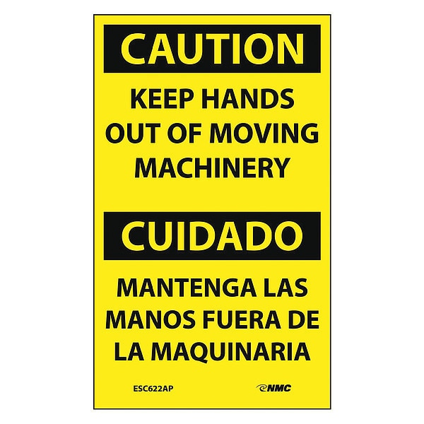 Nmc Caution Keep Hands Out Of Moving Machinery Bilingual Label,  Pk5 ESC622AP