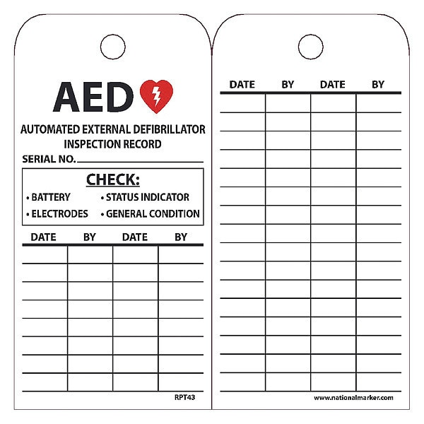 Nmc AED Automated External Defibrillator Inspection Record Tag,  Pk25 RPT43