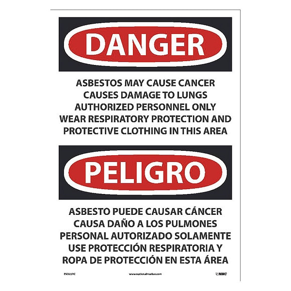 Nmc Asbestos May Cause Cancer Causes Wear Respiratory Protection Sign, Bili ESD23PC