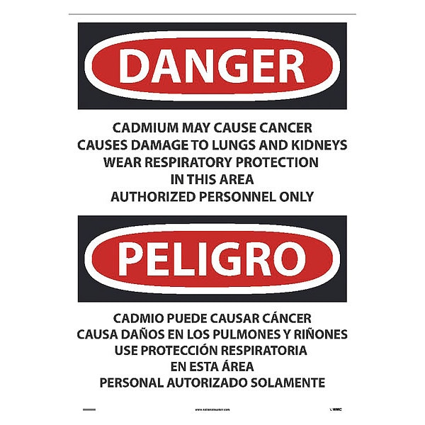 Nmc Cadmium May Cause Cancer Causes Sign - Bilingual ESD28PD