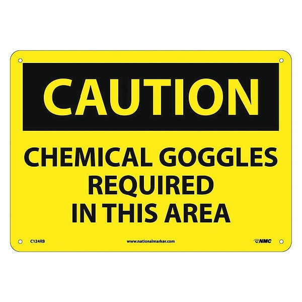 Nmc Caution Chemical Goggles Required In This Area Sign C124RB