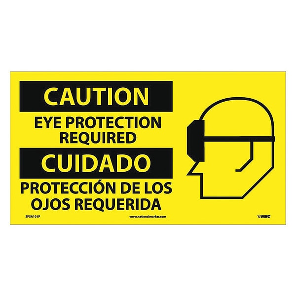 Nmc Caution Eye Protection Required Sign - Bilingual SPSA101P