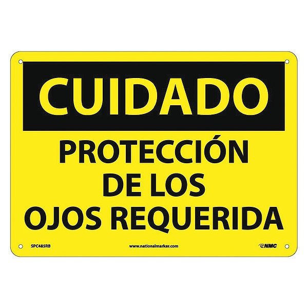 Nmc Caution Eye Protection Required Sign - Spanish SPC485RB