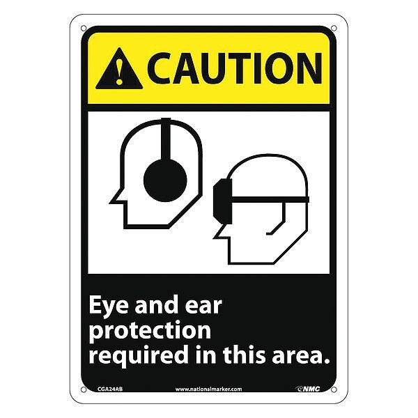 Nmc Caution Eye And Ear Protection Required Sign CGA24AB