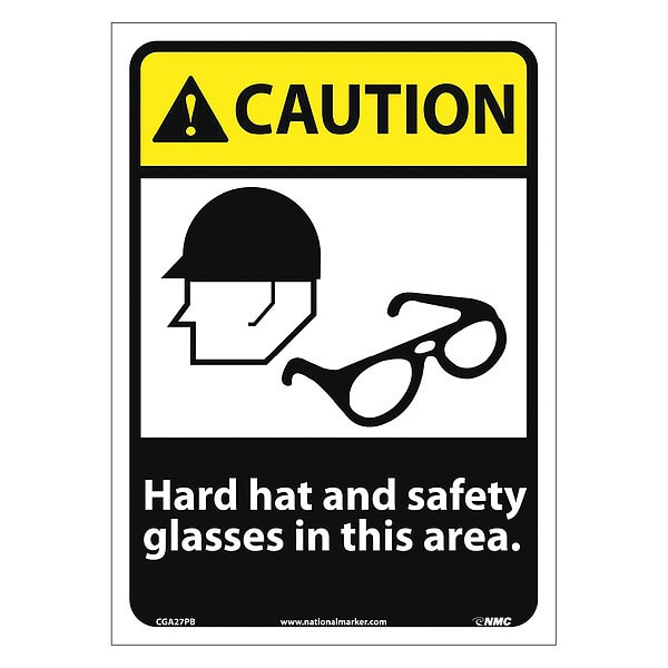 Nmc Caution Hard Hat And Safety Glasses In This Area Sign CGA27PB
