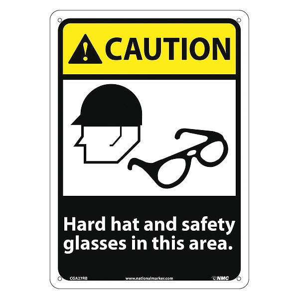 Nmc Caution Hard Hat And Safety Glasses In This Area Sign CGA27RB