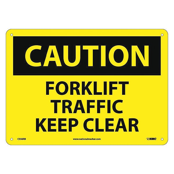 Nmc Caution Forklift Traffic Keep Clear Sign C356RB