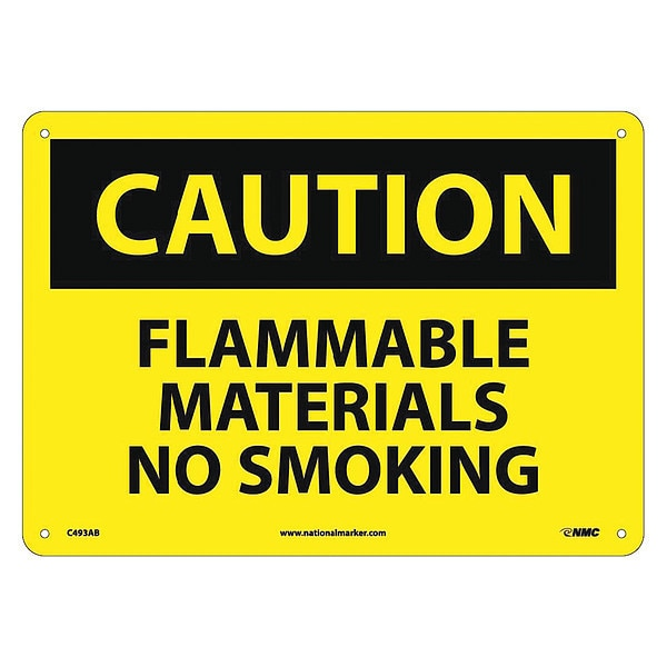 Nmc Caution Flammable Materials No Smoking Sign C493AB