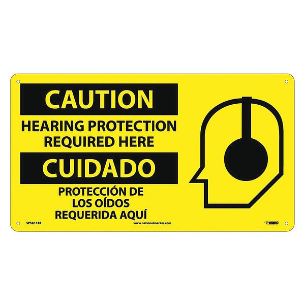 Nmc Caution Hearing Protection Required Here Sign - Bilingual SPSA118R