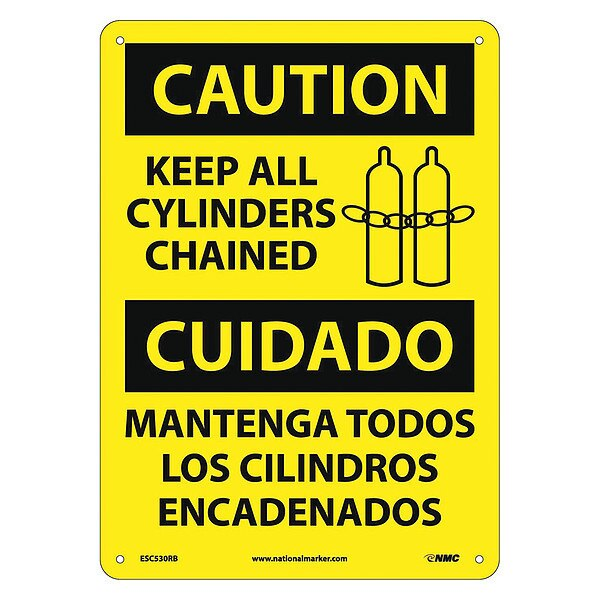 Nmc Caution Keep All Cylinders Chained Sign - Bilingual ESC530RB