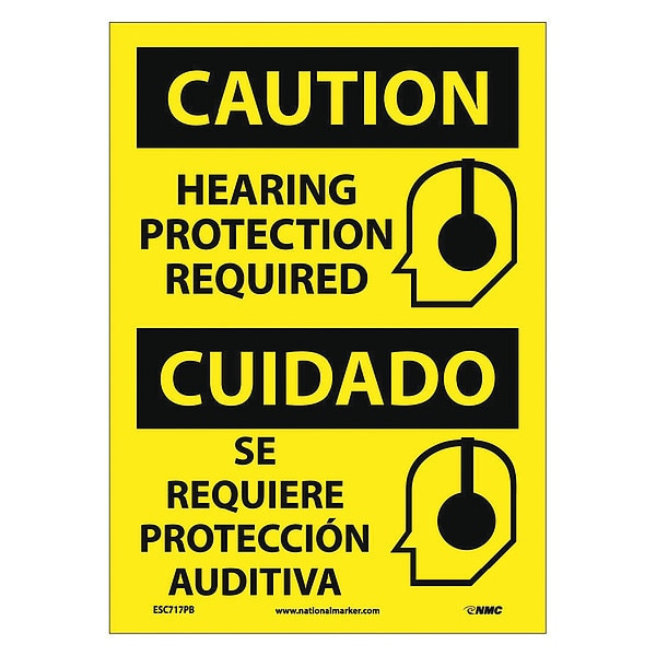 Nmc Caution Hearing Protection Required Sign - Bilingual ESC717PB