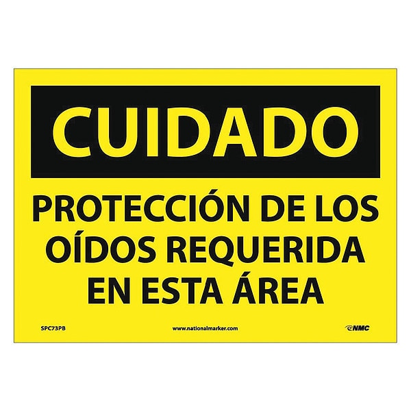 Nmc Caution Hearing Protection Required Sign - Spanish SPC73PB
