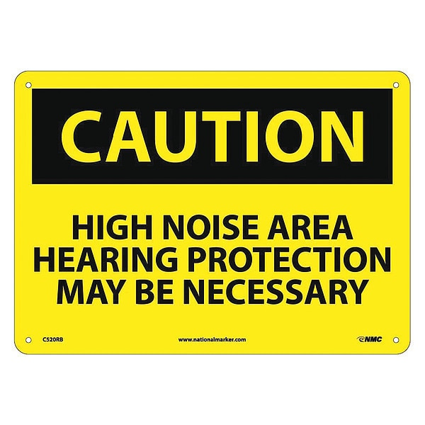 Nmc Caution High Noise Area Hearing Protection Sign C520RB