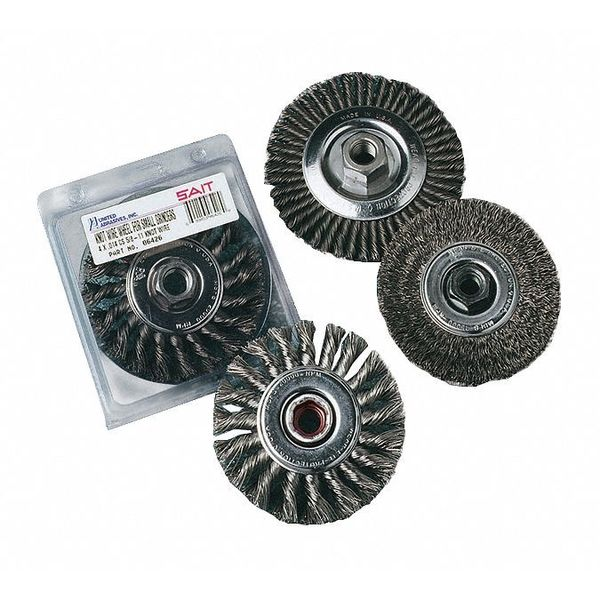 United Abrasives SAIT 06431 4 x .014 x 5//8-11 Arbor Stainless Bristle Regular Twist Knot /& Crimped Style Angle Grinder Wire Wheel