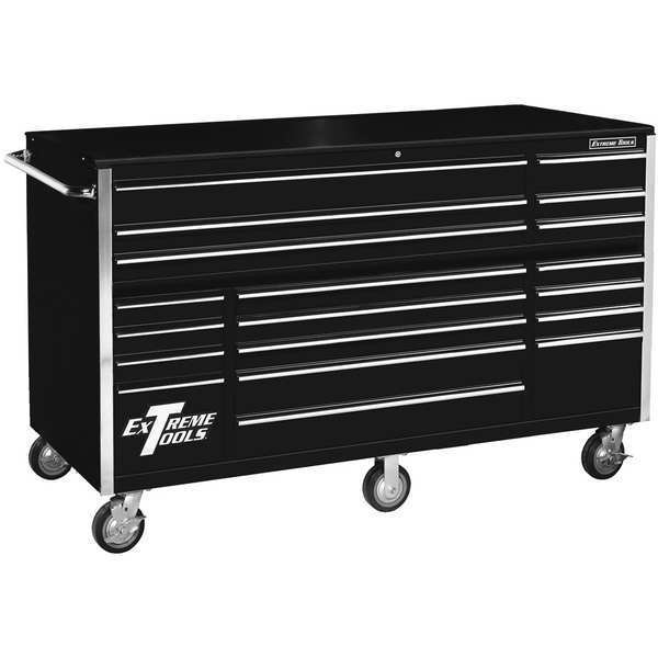 """Extreme Tools Inc 72""""W Rolling Cabinet 19 Drawers,  Black RX722519RCBK"""