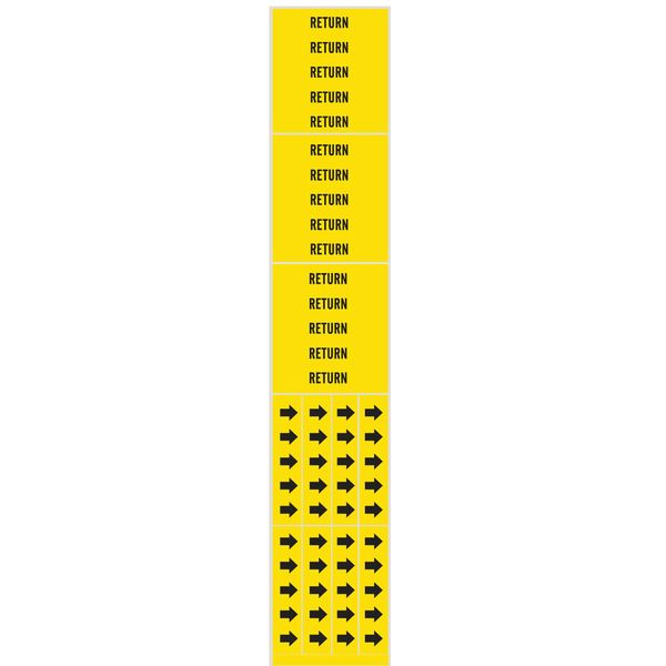 Brady Pipe Marker, Return, Yellow, 3/4 In or Less 7244-3C